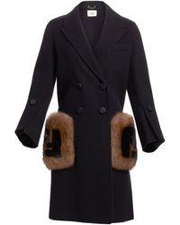 Fendi Double Breasted Wool Coat With Genuine Fox Fur Logo Pockets - Black