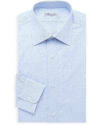 Charvet Mini-check Cotton Dress Shirt - Blue