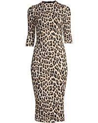 Alice + Olivia Delora Fitted Leopard Mock-neck Dress - Metallic