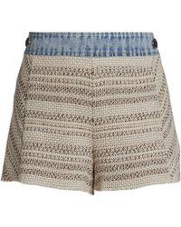 Ramy Brook Edith Mix-media Knit Denim Shorts - Natural