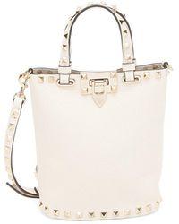 Valentino Garavani Rockstud Leather Bucket Bag - White