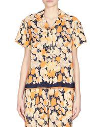 Dries Van Noten Floral Silk Pajama Shirt - Orange