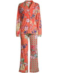 Johnny Was Whistle 2-piece Long Sleeve Pajama Set - Red