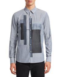 Emporio Armani - Color-block Cotton Shirt - Lyst
