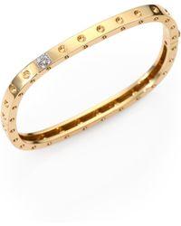 Roberto Coin - Pois Moi Diamond & 18k Yellow Gold Single-row Bangle Bracelet - Lyst
