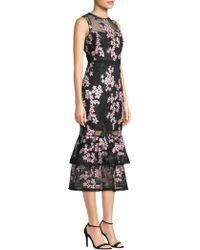 Shoshanna   Embroidered Sleeveless Sheer Dress   Lyst