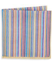 Ike Behar - Aqua Stripe Pocket Square - Lyst