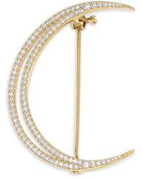 Adriana Orsini 18k Yellow Goldplated & Cubic Zirconia Pavé Crescent Moon Brooch - Metallic