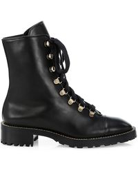 Stuart Weitzman Kolbie Leather Combat Boots - Black