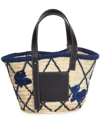 Loewe Basket Animals Raffia Tote Bag - Blue