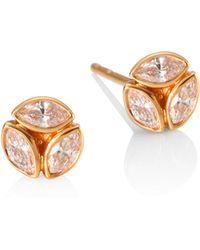 Melissa Kaye - 18k Rose Gold Ruby Stud Earrings - Lyst