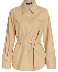 Piazza Sempione Saharian Linen-blend Belted Shacket - Natural