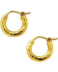 Elizabeth Locke Gold Hammered 19k Yellow Gold Baby Hoop Earrings - Metallic