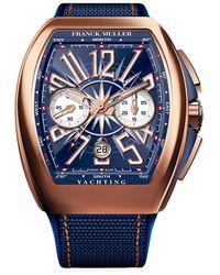 Franck Muller Vanguard Yachting Rose Gold, Alligator & Rubber Strap Chronograph Watch - Multicolor