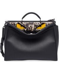 Fendi Peekaboo Leather & Fur Satchel - Black