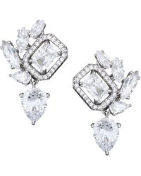 Adriana Orsini Rhodium-plated Sterling Silver Cubic Zirconia Cluster Clip-on Earrings - Metallic
