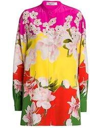 Valentino Flower Collage Crepe De Chine Shirt - Pink