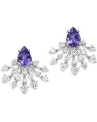 Hueb - Diamond, Tanzanite & 18k White Gold Stud Earrings - Lyst