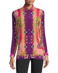Etro - Jewel-print Silk Blouse - Lyst