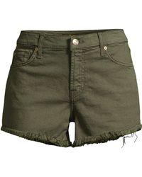 7 For All Mankind Frayed Hem Cut-off Shorts - Green