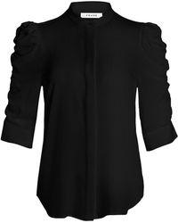 FRAME Shirred-sleeve Silk Shirt - Black