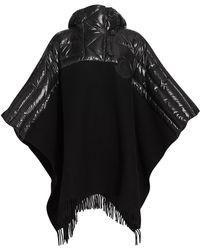 Moncler Down Mantella Wool Cape - Black