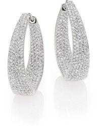 Adriana Orsini - Crystal Pave Twist Hoop Earrings/1.25 - Lyst