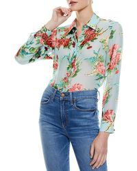 Alice + Olivia Willa Floral Silk Blouse - Blue
