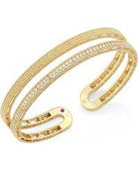 Roberto Coin | Double Symphony Diamond & 18k Yellow Gold Bangle | Lyst