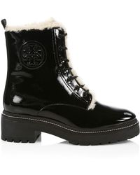 Tory Burch Miller Lug-sole Shearling-lined Patent Leather Combat Boots - Black