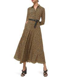 Michael Kors Leopard-print Virgin Wool Shirtdress - Brown