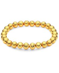 Nest 22k Hammered Gold Beaded Stretch Bracelet - Metallic