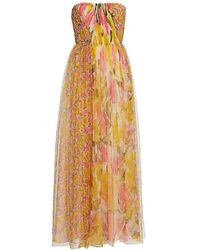 Jason Wu Printed Tulle Strapless Gown - Orange