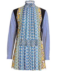 Prada Multi-print Shirt Dress - Blue
