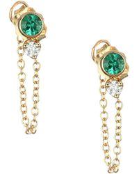 Zoe Chicco - 14k Yellow Gold, Diamond & Emerald Stud Earrings - Lyst