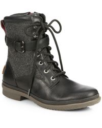 UGG Kesey Leather & Wool Combat Boots - Black