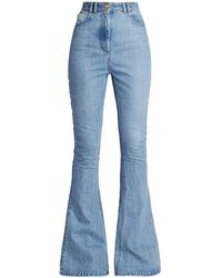 Balmain High-waist Monogram-detail Bootcut Jeans - Blue