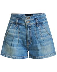 Veronica Beard Jaylen Pleated Denim Shorts - Blue