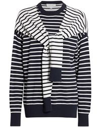 Michael Kors Cashmere Striped Wrapped Sweater - Blue