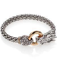 John Hardy Sterling Silver & 18k Gold Naga Dragon Bracelet - Metallic
