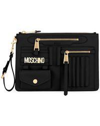 Moschino Logo Leather Wristlet - Black