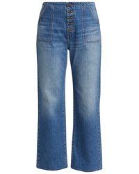 Veronica Beard Crosbie Cropped Wide-leg Jeans - Blue