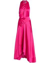Acler Palmera Satin Draped Dress - Pink