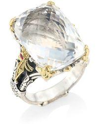 Konstantino Pythia Crystal, Corundum, Sterling Silver & 18k Yellow Gold Cocktail Ring - Metallic