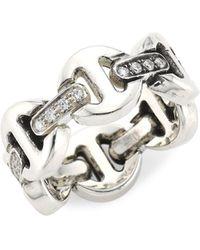 Hoorsenbuhs Heritage Brute Classic Tri-link Sterling Silver & Diamond Ring - Metallic