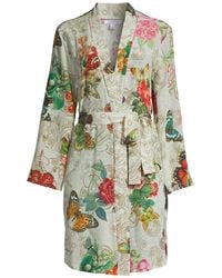 Johnny Was Evelyn Floral Silk Robe - Green