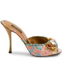 44dfdb28709 Lyst - Miu Miu Jeweled-heel Sandals in Metallic
