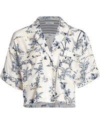 FRAME Silk Piped Shirt - Blue