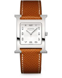 Hermès - Heure H Mm Stainless Steel & Leather Strap Watch - Lyst