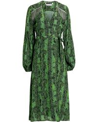 ROTATE BIRGER CHRISTENSEN Kira Embellished Snake Print Dress - Green